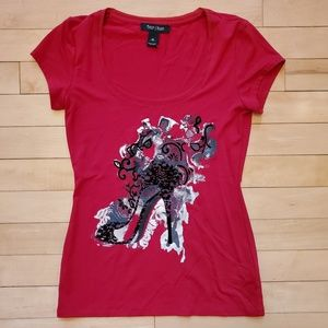 White House Black Market Rich Red Shoe Tee Top